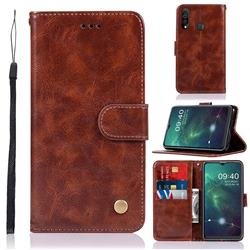 Luxury Retro Leather Wallet Case for Samsung Galaxy A20s - Brown