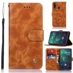 Luxury Retro Leather Wallet Case for Samsung Galaxy A20s - Golden