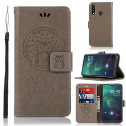 Intricate Embossing Owl Campanula Leather Wallet Case for Samsung Galaxy A20s - Grey