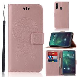 Intricate Embossing Owl Campanula Leather Wallet Case for Samsung Galaxy A20s - Rose Gold
