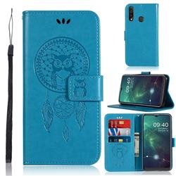 Intricate Embossing Owl Campanula Leather Wallet Case for Samsung Galaxy A20s - Blue