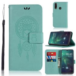 Intricate Embossing Owl Campanula Leather Wallet Case for Samsung Galaxy A20s - Green