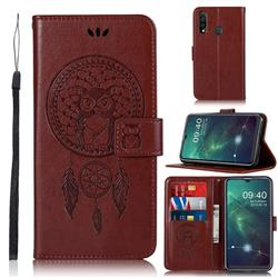 Intricate Embossing Owl Campanula Leather Wallet Case for Samsung Galaxy A20s - Brown