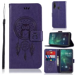 Intricate Embossing Owl Campanula Leather Wallet Case for Samsung Galaxy A20s - Purple