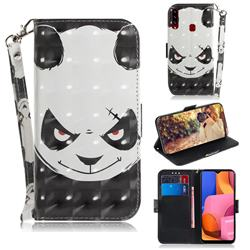 Angry Bear 3D Painted Leather Wallet Phone Case for Samsung Galaxy A20s