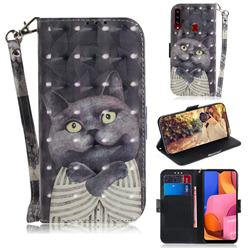 Cat Embrace 3D Painted Leather Wallet Phone Case for Samsung Galaxy A20s