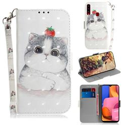 Cute Tomato Cat 3D Painted Leather Wallet Phone Case for Samsung Galaxy A20s
