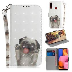 Pug Dog 3D Painted Leather Wallet Phone Case for Samsung Galaxy A20s