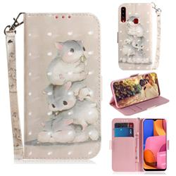 Three Squirrels 3D Painted Leather Wallet Phone Case for Samsung Galaxy A20s