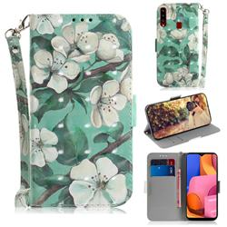 Watercolor Flower 3D Painted Leather Wallet Phone Case for Samsung Galaxy A20s
