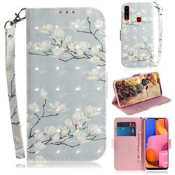 Magnolia Flower 3D Painted Leather Wallet Phone Case for Samsung Galaxy A20s