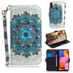 Peacock Mandala 3D Painted Leather Wallet Phone Case for Samsung Galaxy A20s