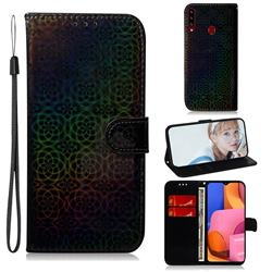 Laser Circle Shining Leather Wallet Phone Case for Samsung Galaxy A20s - Black