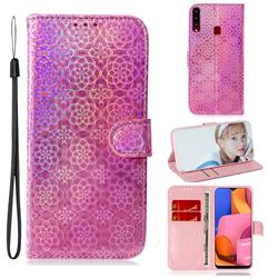 Laser Circle Shining Leather Wallet Phone Case for Samsung Galaxy A20s - Pink