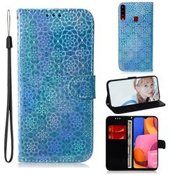 Laser Circle Shining Leather Wallet Phone Case for Samsung Galaxy A20s - Blue