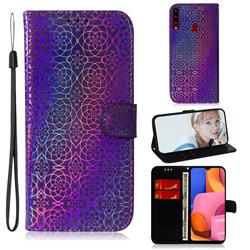 Laser Circle Shining Leather Wallet Phone Case for Samsung Galaxy A20s - Purple