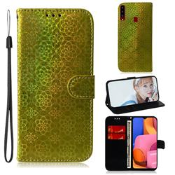 Laser Circle Shining Leather Wallet Phone Case for Samsung Galaxy A20s - Golden