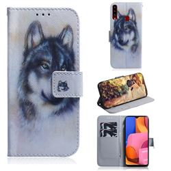 Snow Wolf PU Leather Wallet Case for Samsung Galaxy A20s