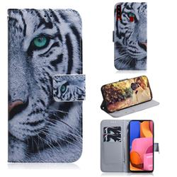 White Tiger PU Leather Wallet Case for Samsung Galaxy A20s