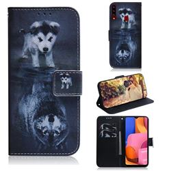 Wolf and Dog PU Leather Wallet Case for Samsung Galaxy A20s