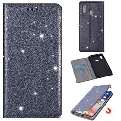 Ultra Slim Glitter Powder Magnetic Automatic Suction Leather Wallet Case for Samsung Galaxy A20s - Gray