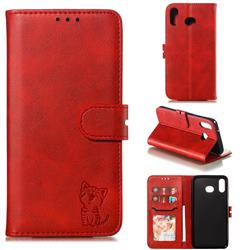 Embossing Happy Cat Leather Wallet Case for Samsung Galaxy A20s - Red