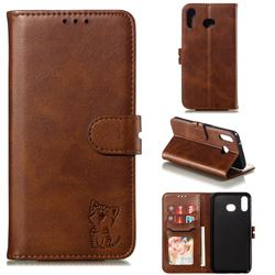 Embossing Happy Cat Leather Wallet Case for Samsung Galaxy A20s - Brown