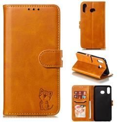 Embossing Happy Cat Leather Wallet Case for Samsung Galaxy A20s - Yellow