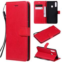 Retro Greek Classic Smooth PU Leather Wallet Phone Case for Samsung Galaxy A20s - Red