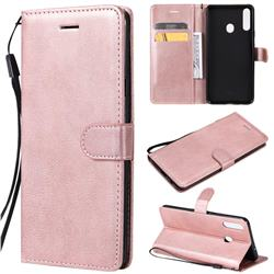 Retro Greek Classic Smooth PU Leather Wallet Phone Case for Samsung Galaxy A20s - Rose Gold