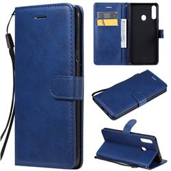 Retro Greek Classic Smooth PU Leather Wallet Phone Case for Samsung Galaxy A20s - Blue