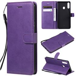 Retro Greek Classic Smooth PU Leather Wallet Phone Case for Samsung Galaxy A20s - Purple