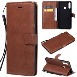Retro Greek Classic Smooth PU Leather Wallet Phone Case for Samsung Galaxy A20s - Brown