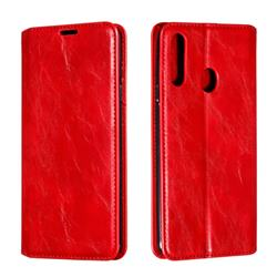 Retro Slim Magnetic Crazy Horse PU Leather Wallet Case for Samsung Galaxy A20s - Red