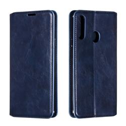 Retro Slim Magnetic Crazy Horse PU Leather Wallet Case for Samsung Galaxy A20s - Blue