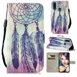 Feather Wind Chimes 3D Painted Leather Wallet Phone Case for Samsung Galaxy A20s