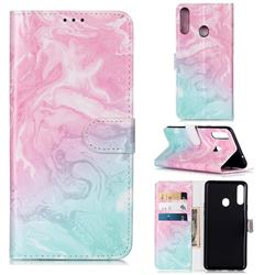 Pink Green Marble PU Leather Wallet Case for Samsung Galaxy A20s
