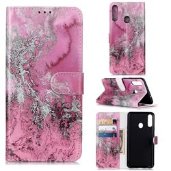 Pink Seawater PU Leather Wallet Case for Samsung Galaxy A20s