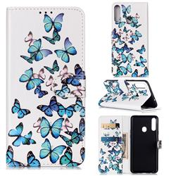 Blue Vivid Butterflies PU Leather Wallet Case for Samsung Galaxy A20s