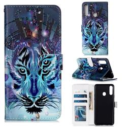 Ice Wolf 3D Relief Oil PU Leather Wallet Case for Samsung Galaxy A20s