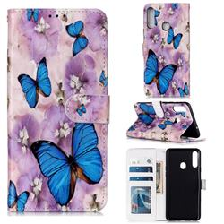 Purple Flowers Butterfly 3D Relief Oil PU Leather Wallet Case for Samsung Galaxy A20s