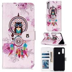 Wind Chimes Owl 3D Relief Oil PU Leather Wallet Case for Samsung Galaxy A20s
