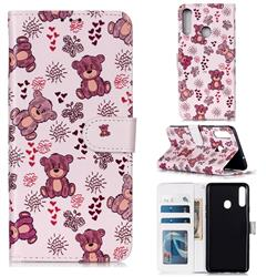 Cute Bear 3D Relief Oil PU Leather Wallet Case for Samsung Galaxy A20s
