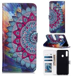 Mandala Flower 3D Relief Oil PU Leather Wallet Case for Samsung Galaxy A20s