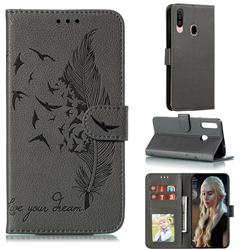 Intricate Embossing Lychee Feather Bird Leather Wallet Case for Samsung Galaxy A20s - Gray