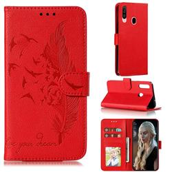 Intricate Embossing Lychee Feather Bird Leather Wallet Case for Samsung Galaxy A20s - Red