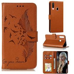 Intricate Embossing Lychee Feather Bird Leather Wallet Case for Samsung Galaxy A20s - Brown