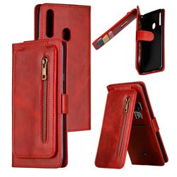 Multifunction 9 Cards Leather Zipper Wallet Phone Case for Samsung Galaxy A20s - Red