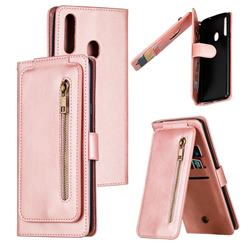 Multifunction 9 Cards Leather Zipper Wallet Phone Case for Samsung Galaxy A20s - Rose Gold
