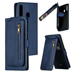 Multifunction 9 Cards Leather Zipper Wallet Phone Case for Samsung Galaxy A20s - Blue